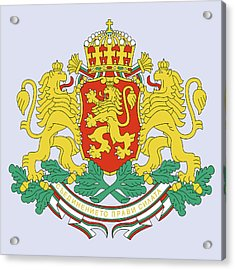 Acrylic Print featuring the drawing Bulgaria Coat Of Arms by Movie Poster Prints