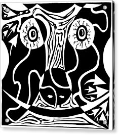 Bull Charging Rorschach Acrylic Print by Yonatan Frimer Maze Artist