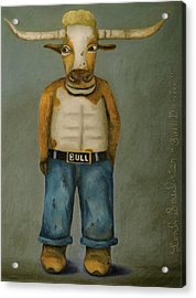 Acrylic Print featuring the painting Bull Denim by Leah Saulnier The Painting Maniac