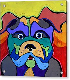 Bull Dog - Don't Give Me Your Lines , And Keep Your Hands To Yourself Acrylic Print