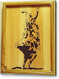 Bull-rider Acrylic Print by Russell Ellingsworth