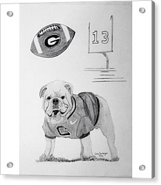 Bulldog Collage Acrylic Print by Dale Ballenger