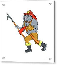 Bulldog Firefighter Pike Pole Fire Axe Drawing Acrylic Print by Aloysius Patrimonio