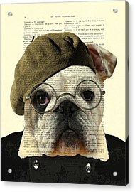 Bulldog Portrait, Animals In Clothes Acrylic Print by Madame Memento