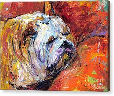 Bulldog Portrait Painting Impasto Acrylic Print