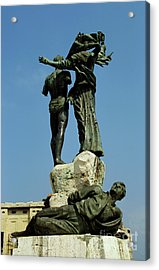 Bullet Holes Covering Statues In Martyr's Place In Beirut Acrylic Print by Sami Sarkis