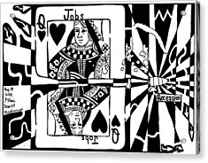 Bullet Thru The Queen Of Hearts...recessions Effect On Jobs By Yonatan Frimer Acrylic Print by Yonatan Frimer Maze Artist