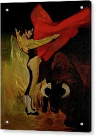 Acrylic Print featuring the painting Bullfighter By Mary Krupa by Bernadette Krupa