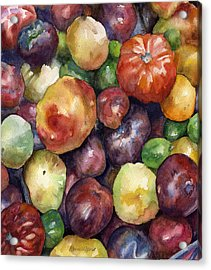 Acrylic Print featuring the painting Bumper Crop Of Heirlooms by Anne Gifford
