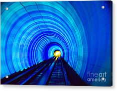 Acrylic Print featuring the photograph Bund Tunnel Lights by Angela DeFrias
