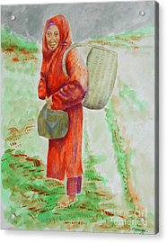 Bundled And Barefoot -- Portrait Of Old Asian Woman Outdoors Acrylic Print