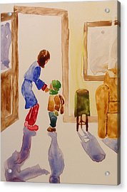Bundled Up For School Acrylic Print by Marilyn Jacobson