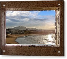 Bundoran And The Dartry Mountains Framed In The Window Of The Rougey Walk Shelter Acrylic Print
