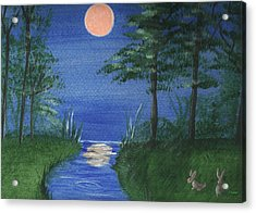Bunnies In The Garden At Midnight Acrylic Print