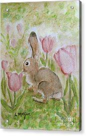 Bunny In The Tulips Acrylic Print