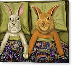 Acrylic Print featuring the painting Bunny Love by Leah Saulnier The Painting Maniac