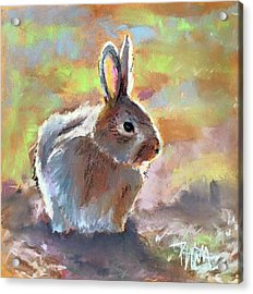 Acrylic Print featuring the pastel Bunny by Pattie Wall