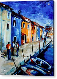Burano Conversation Acrylic Print by Elise Palmigiani