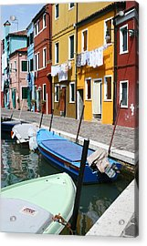 Burano Corner With Laundry Acrylic Print by Donna Corless