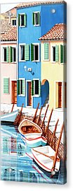 Burano, Italy, Prints From Original Oil Painting Acrylic Print