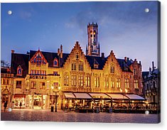 Acrylic Print featuring the photograph Burg Square Architecture At Night - Bruges by Barry O Carroll