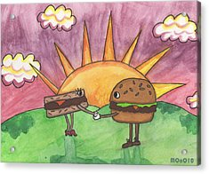 Burger And Patty Acrylic Print by Michelley QueenofQueens