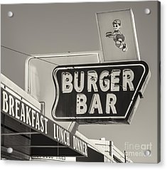 Burger Bar Bw Acrylic Print by Jerry Fornarotto