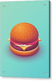 Burger Isometric - Plain Mint Acrylic Print by Ivan Krpan