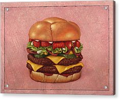 Burger Acrylic Print by James W Johnson