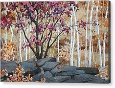 Burgundy On The Rocks Acrylic Print by Faye Ziegler