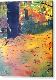 Acrylic Print featuring the painting Buried In Autumn Leaves by Gary Smith