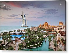 Burj Al Arab Hotel And Madinat Jumeirah Resort Acrylic Print by Jeremy Woodhouse