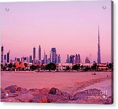 Burj Khalifa Previously Burj Dubai At Sunset Acrylic Print by Chris Smith