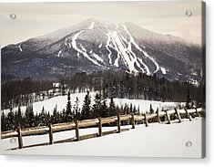 Burke Mountain And Fence Acrylic Print