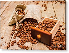 Burlap Bag Of Coffee Beans And Drawer Acrylic Print by Jorgo Photography - Wall Art Gallery