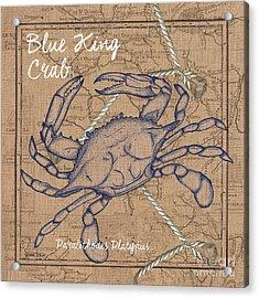 Burlap Blue Crab Acrylic Print by Debbie DeWitt