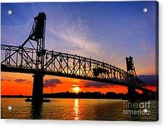 Burlington Bristol Bridge Sunset  Acrylic Print by Olivier Le Queinec