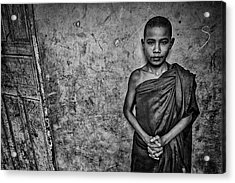 Burma Orphan Monk Acrylic Print by David Longstreath