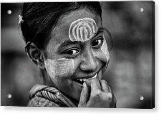 Burma Smiling Girl Acrylic Print by David Longstreath