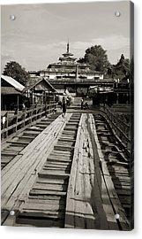 Burmese Wooden Bridge Acrylic Print by Jessica Rose