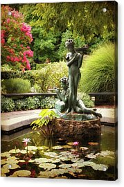 Burnett Fountain Garden Acrylic Print