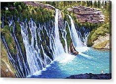 Burney Falls Acrylic Print by Donald Neff