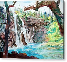 Acrylic Print featuring the painting Burney Falls by John Norman Stewart