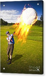 Burning Golf Ball Acrylic Print