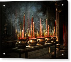Acrylic Print featuring the photograph Burning Incense by Lucinda Walter