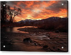 Acrylic Print featuring the photograph Burning Sunset Above The Provo River. by Johnny Adolphson