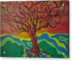 Burning Tree Acrylic Print by Rebecca Jankowitz