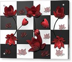 Burnt Crimson Flora Acrylic Print
