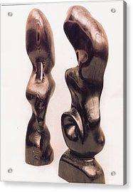 Burnt Sculptures Pair Acrylic Print by Lionel Larkin