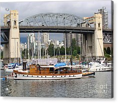 Acrylic Print featuring the painting Burrard Street Bridge, Vancouver by Rod Jellison